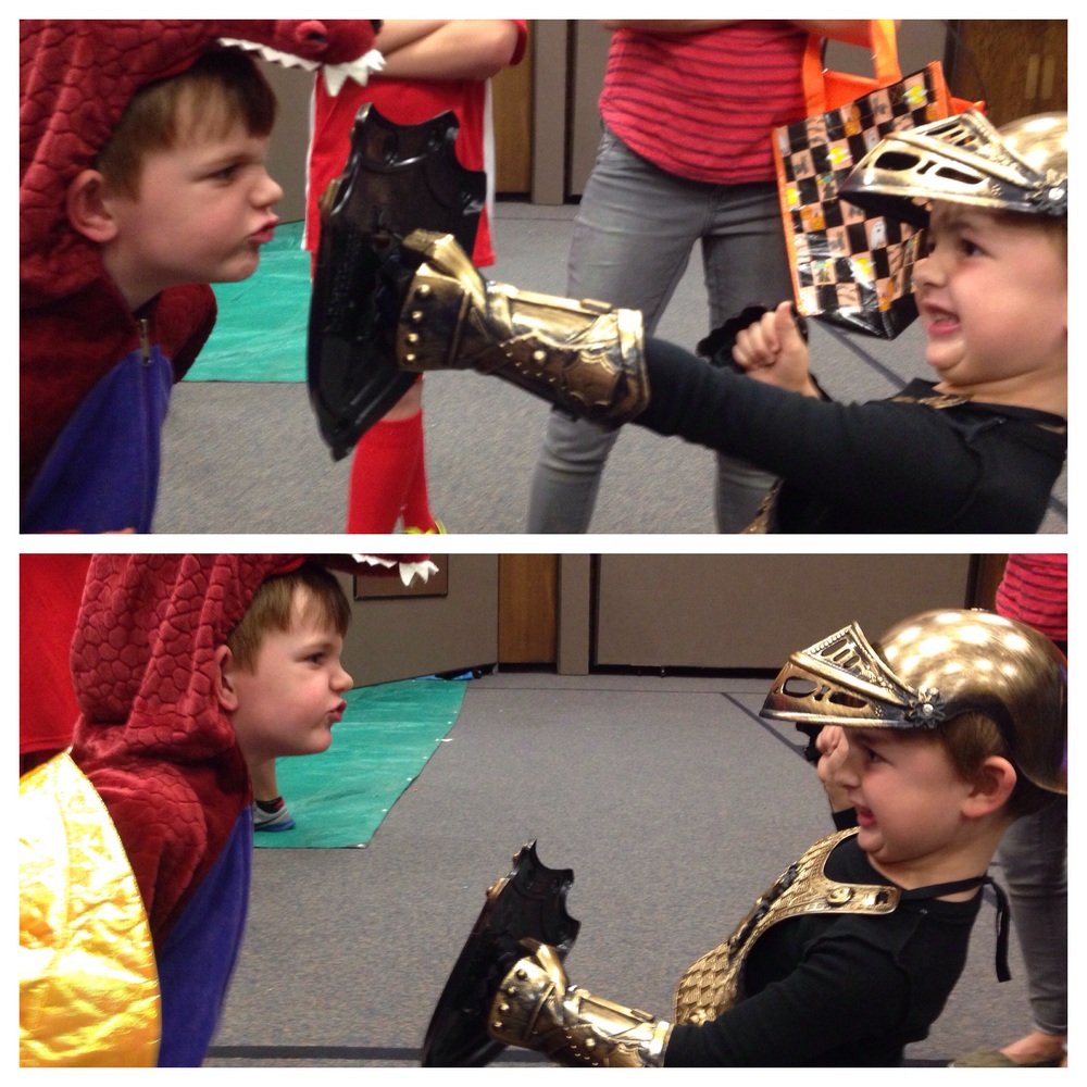 Nic as a fire-breathing dragon and Isaac as a Knight. Perfect combo.