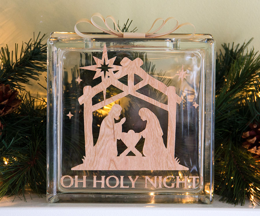 Oh Holy Night on Glass block