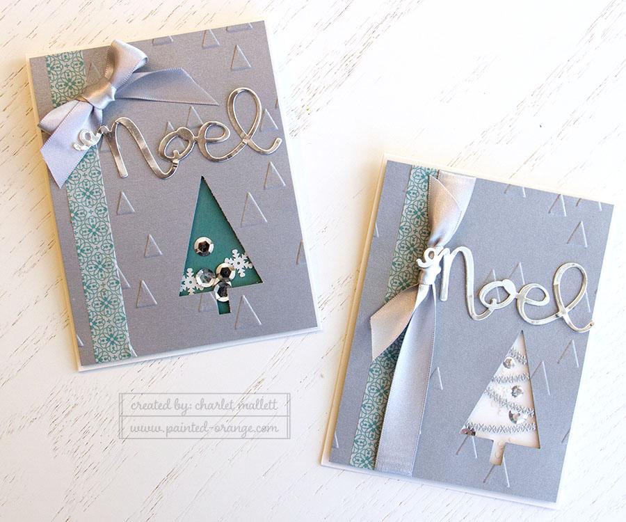 Festival of Trees shaker cards using the Wondrous Wreath 'NOEL' framelit.
