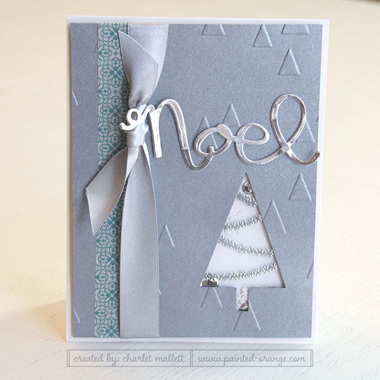 Festival of Trees shaker card with silver heat embossing.