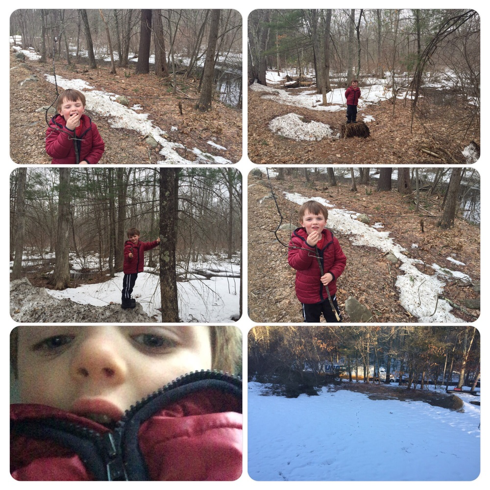 Nature walks - Nicholas loves to walk our land and find treasures.