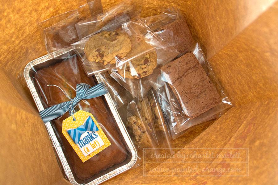 Banana bread packaging with April 15 paper pumpkin kit.