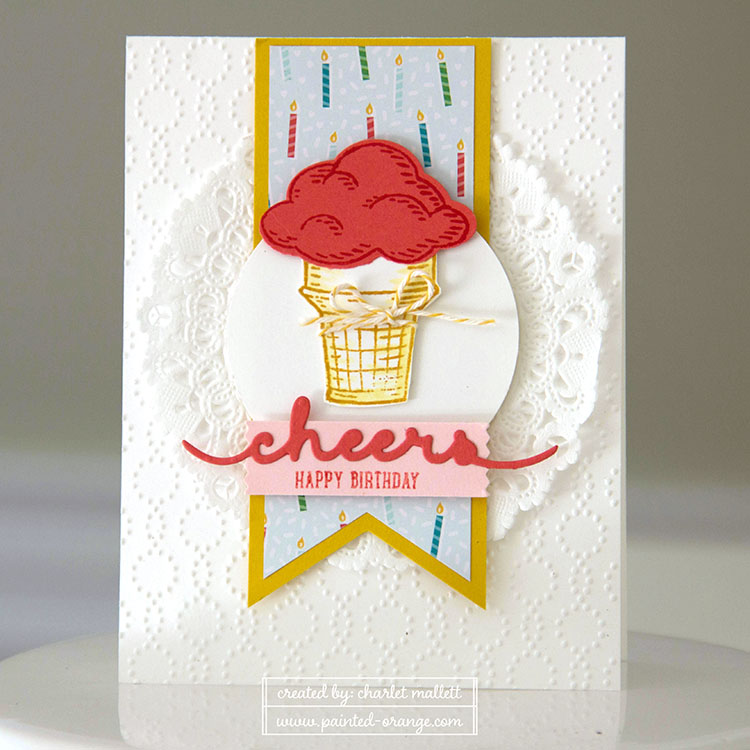Sprinkles of Life stamp set & Cheers Greeting Thinlet - ice cream cone card
