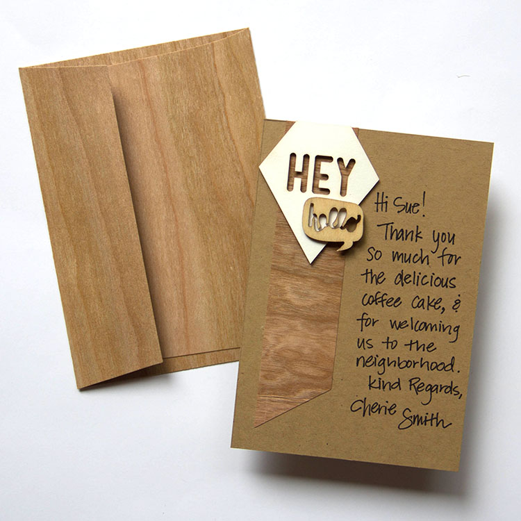 BARC Cherry Wood Envelope & Notecard