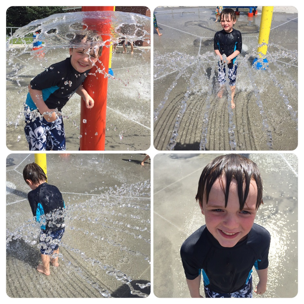 Splash pad fun. Nicholas loves getting wet! 7.31.15