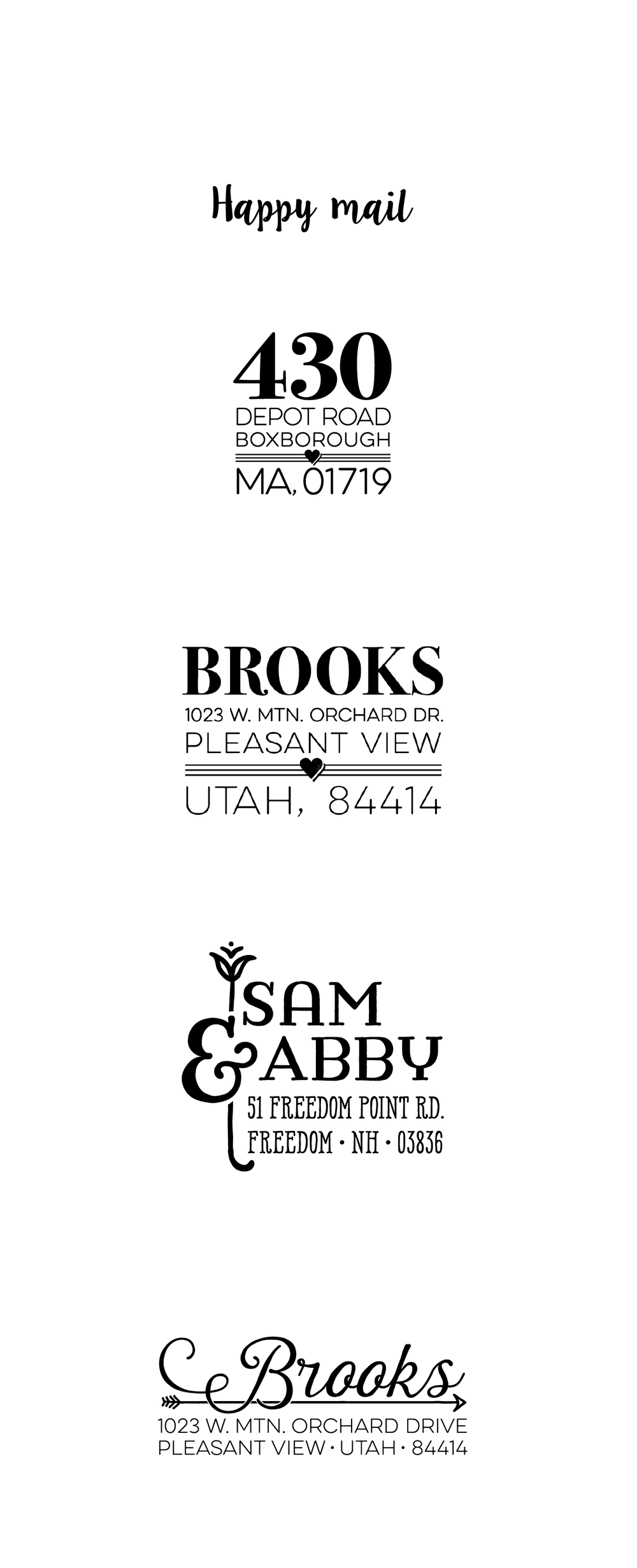 Address stamp designs
