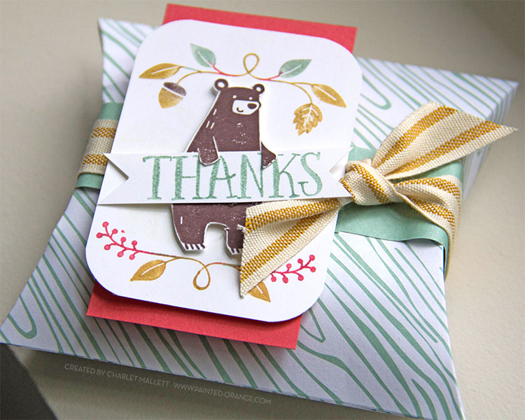 Thankful Forest Friends, Stampin' Up! - Square Pillow Box filled with treats