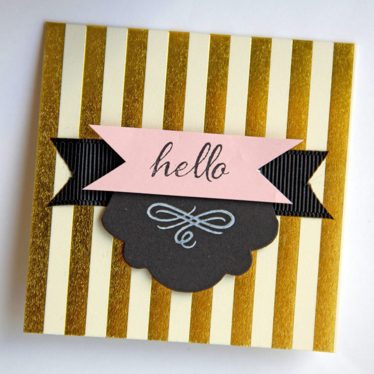 Cut down card base to create a square card - save extra piece for tag