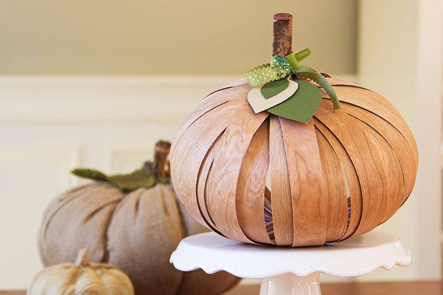 Cherry Wood Paper Pumpkin