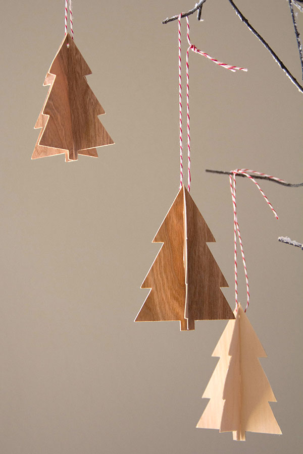 3D Wood tree ornaments