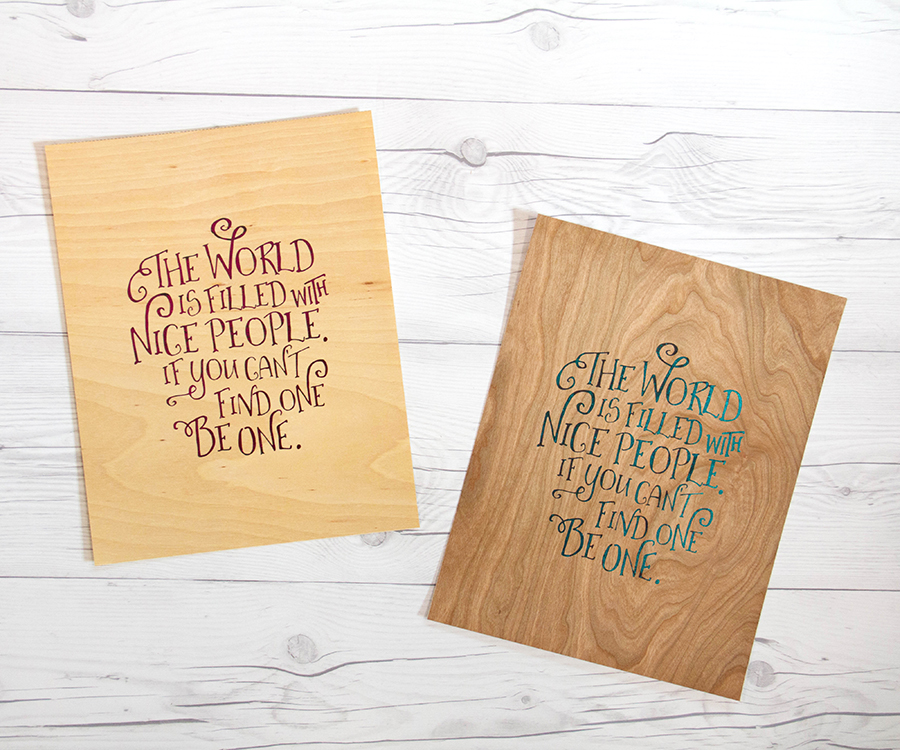 Foil word art on Cherry & Birch Wood papers