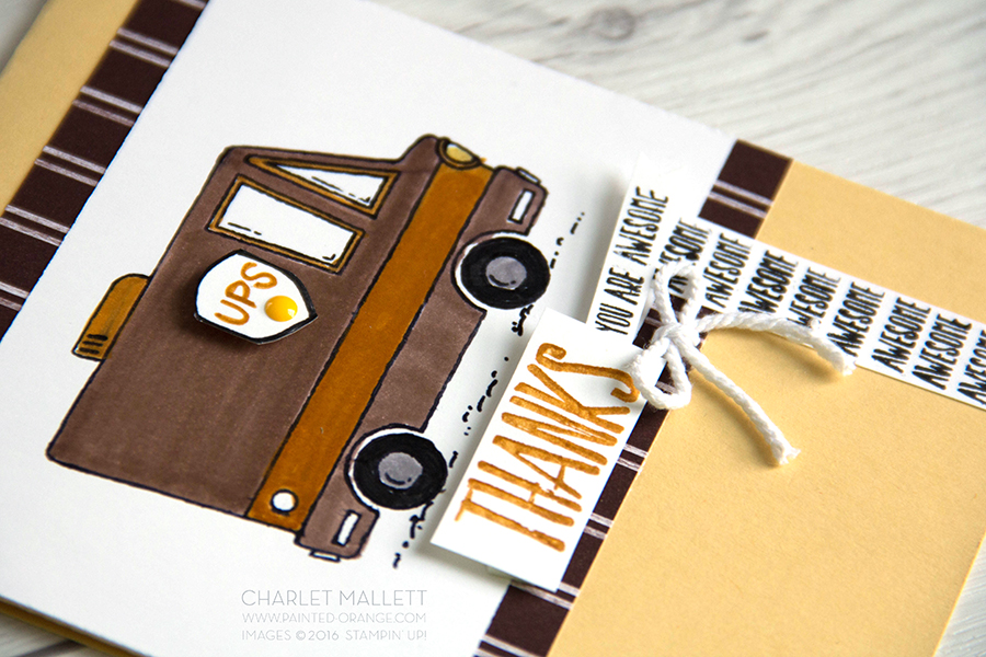Detail View ... Go BROWN. Perfect card for the UPS guy. Tasty Trucks, Stampin' Up!