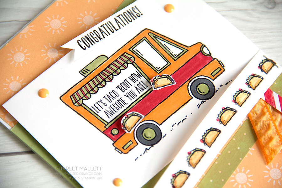 Yum, Yum, taco border. Tacos anyone? Card made with Tasty Trucks Stamp Set, Stampin' Up!