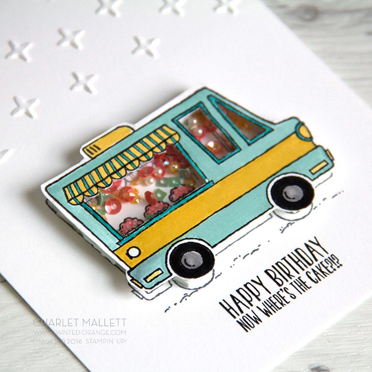 Tasty Trucks shaker card. Stampin' Up! SHAKE SHAKE SHAKE!
