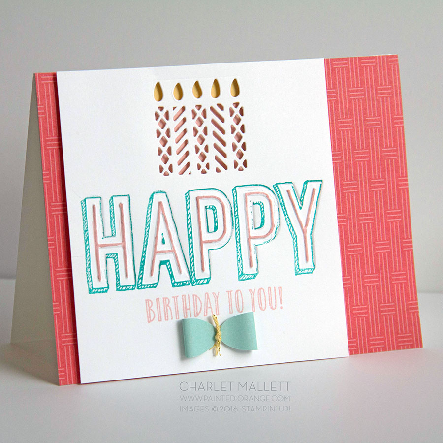 Happy Birthday card. Happy Celebrations Stamp set and the Celebrations Duo embossing folder. Candle die comes from the Window Box framelits.