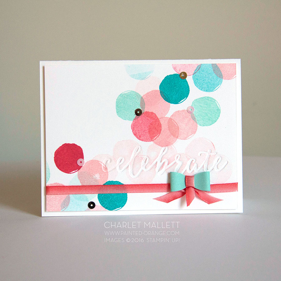 Celebrate card. Happy Celebrations Stamp set and the Celebrations Duo embossing folder. Circle stamp repeated randomly over and over for background.