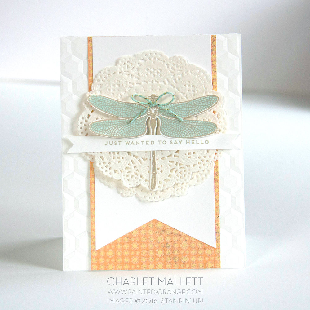 Dragonfly Hello card using Dragonfly Dreams stamp