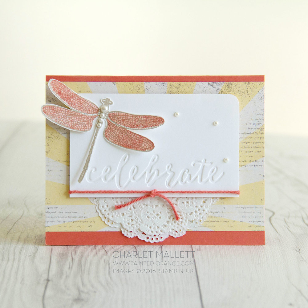 Celebrate card using Dragonfly Dreams stamp set