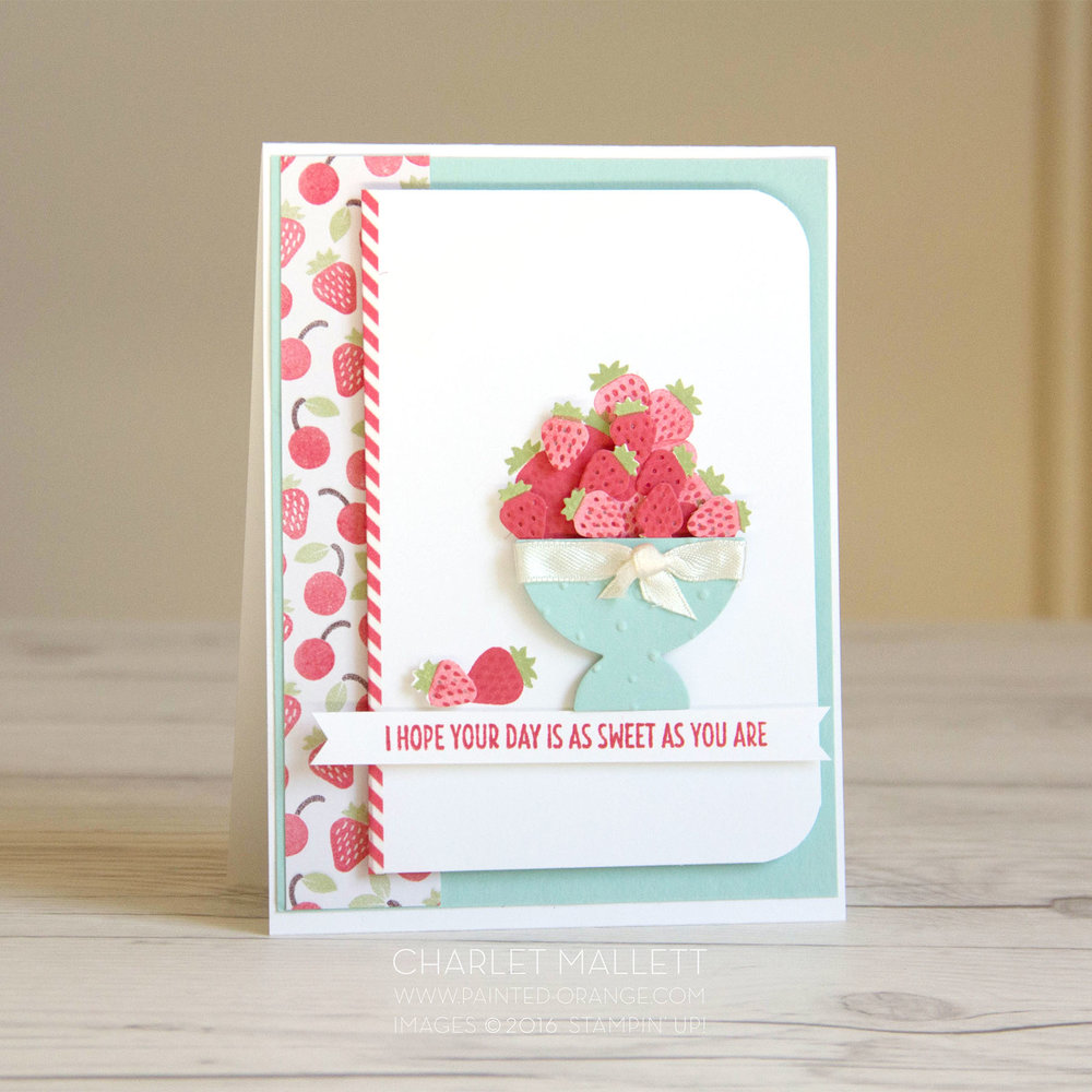 Sweet Strawberry card using the Cool Treat stamp set and Frozen Treats framelits from Stampin' Up! Card created by Charlet Mallett for the Stamp Review Crew blog hop. 2017 Occasions mini catalog.