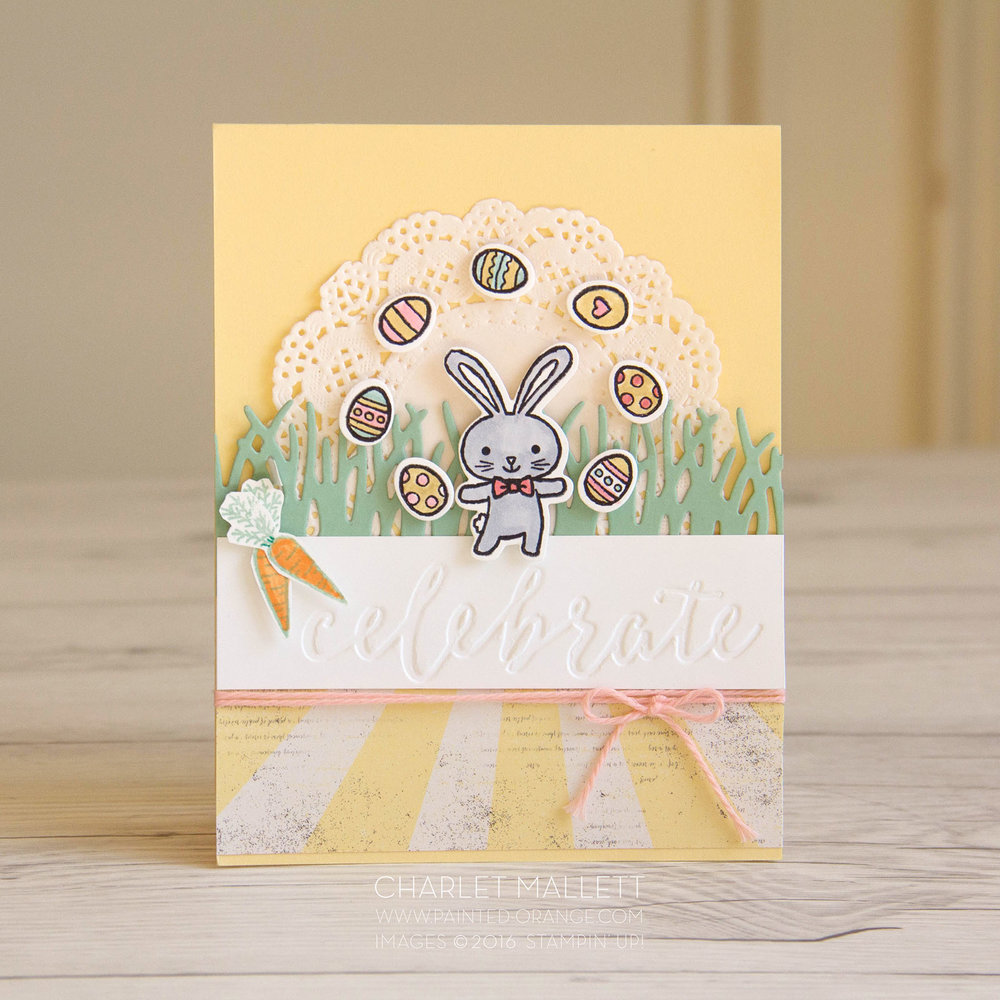 Celebrate Easter Card using the Basket Bunch Stamp set from Stampin' Up! Charlet Mallett