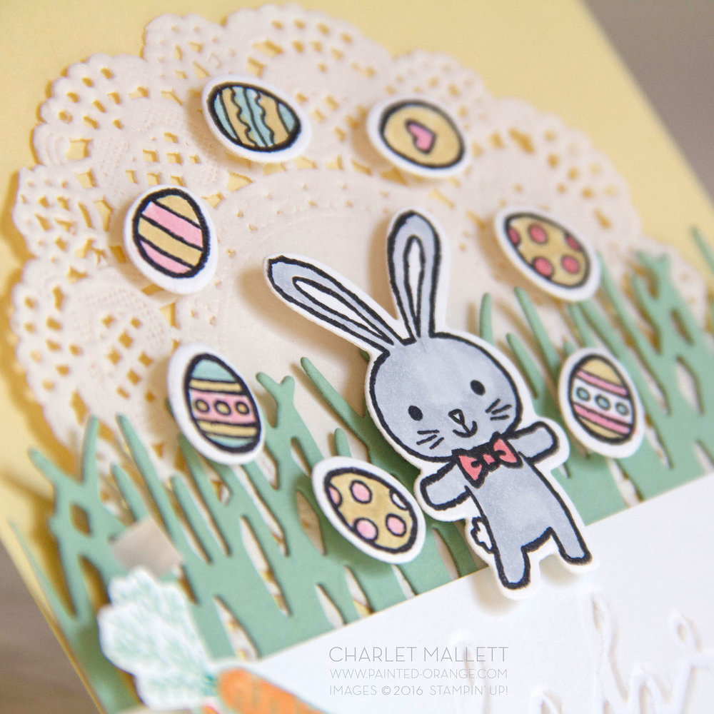 Detail view of juggling bunny. Celebrate Easter Card using the Basket Bunch Stamp set from Stampin' Up! Charlet Mallett