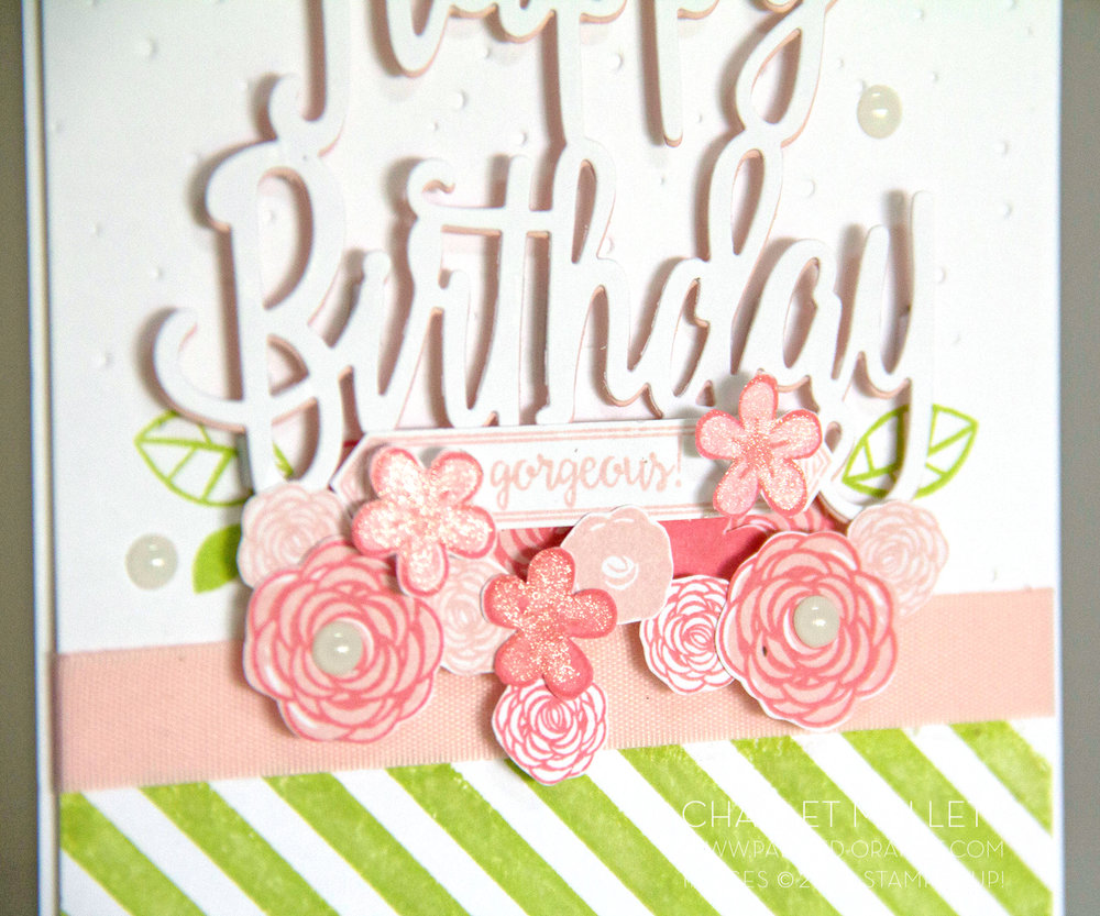 Charlet Mallett - The flowers from Happy Birthday Gorgeous have a little WINK of Stella added for sparkle. Stampin' Up!