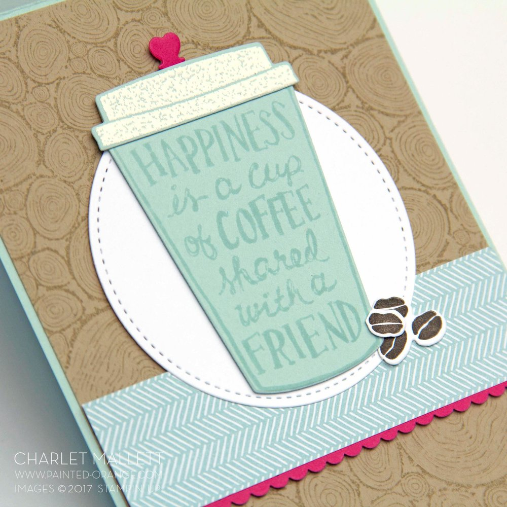 Coffee Café stamp set and Tree Rings Stamp set from Stampin' Up! Project by Charlet Mallett