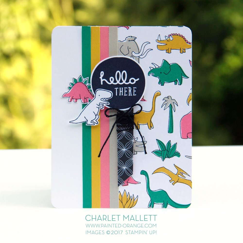 Pieces & Patterns, Pick a Pattern - Dinosaur Hello card - Charlet Mallett, Stampin' Up!