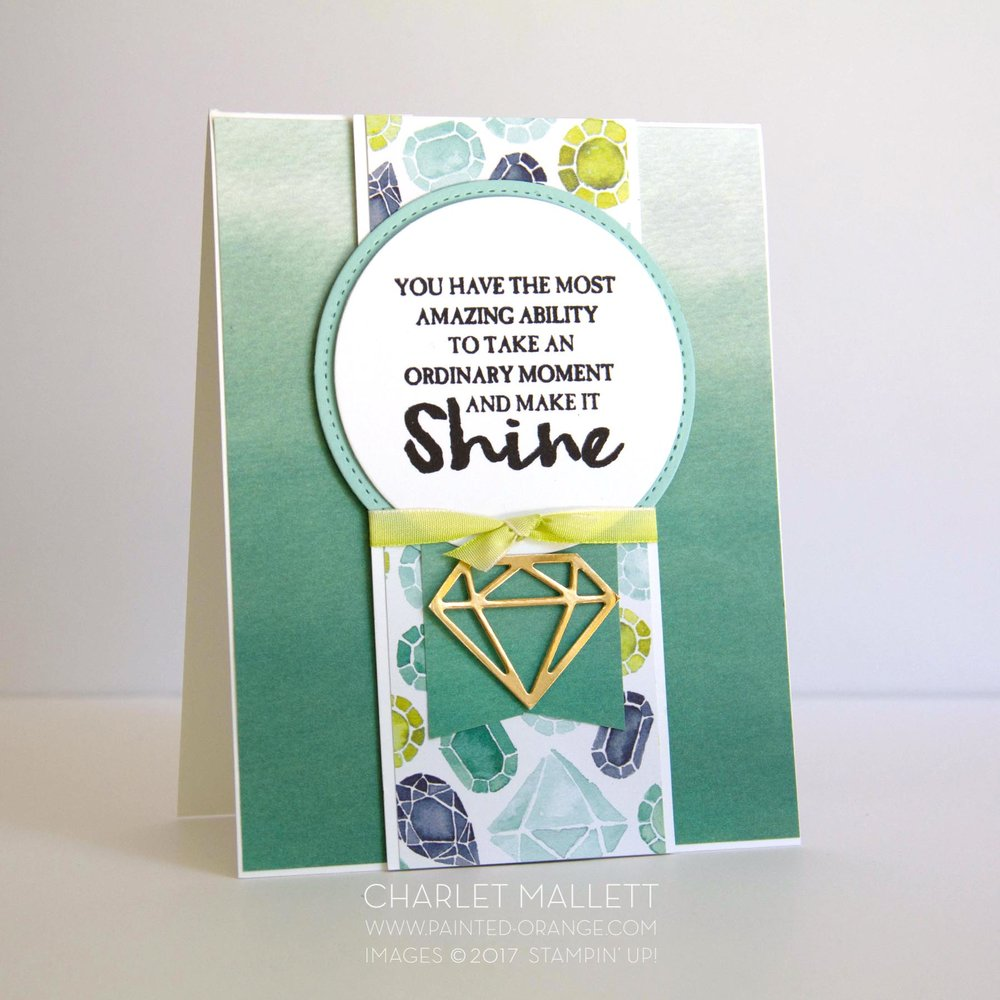 High Tide Shine sentiment is perfect for the GEM card. Charlet Mallett, Stampin, Up!