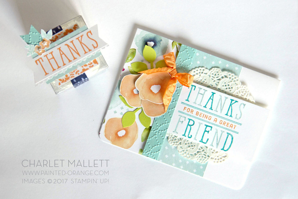 Window Shopping THANKS treat box & Thanks card. Charlet Mallett, Stampin' Up!