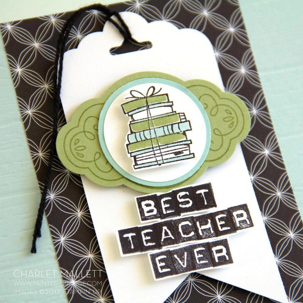 Best Teacher Ever card - World Teachers Day, Charlet Mallett - Stampin' Up! Labeler Alphabet, Bike Ride, Label Me Pretty
