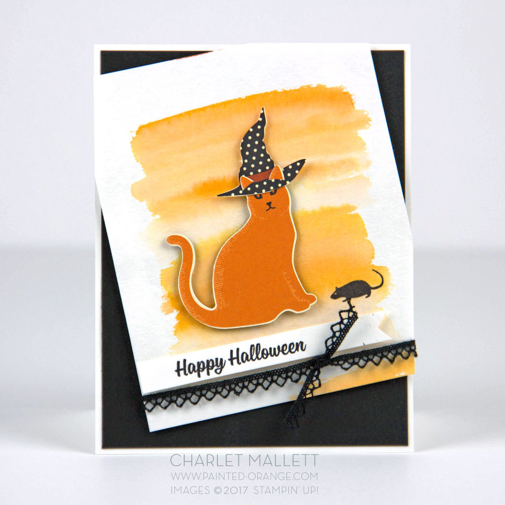 Happy Halloween card using Spooky Cat stamp set and Spooky Night papers. Charlet Mallett - Stampin' Up!