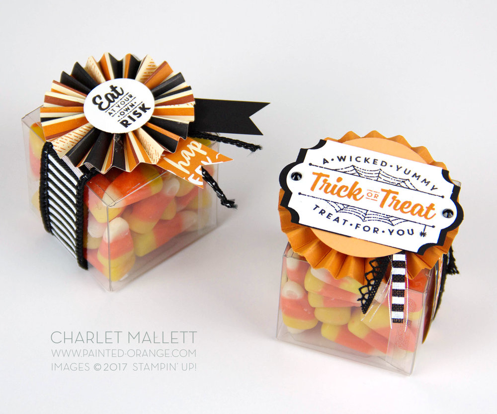 Halloween treat packaging using Spooky Cat stamp set and Spooky Night papers. Charlet Mallett - Stampin' Up!