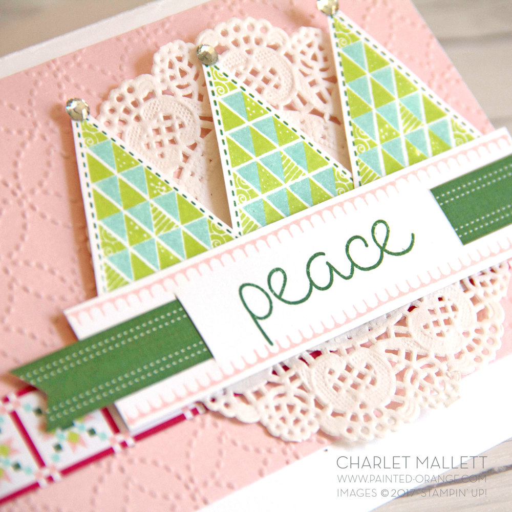 Quilted Christmas Peace card - Charlet Mallett, Stampin' Up!