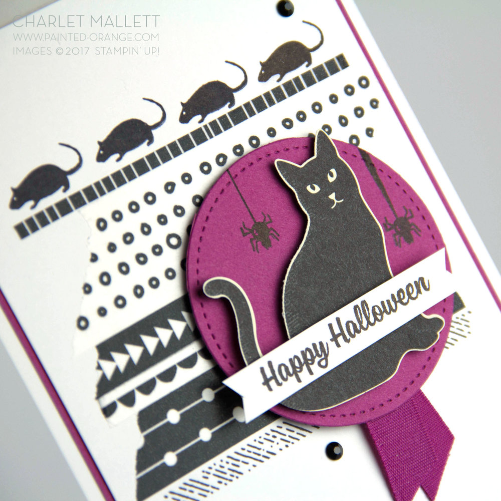 Spooky Cat Halloween card - Charlet Mallett, Stampin' Up!