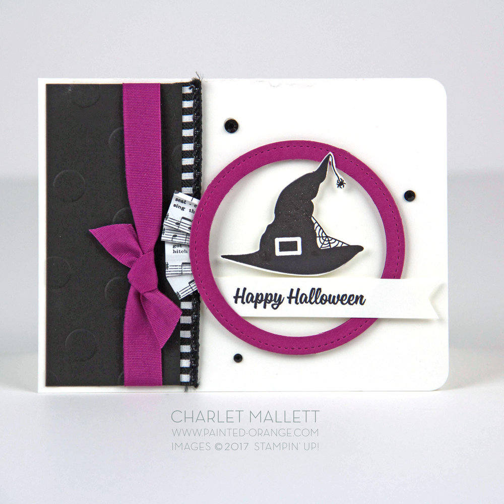 Spooky Cat Witches Hat Halloween card - Charlet Mallett, Stampin' Up!