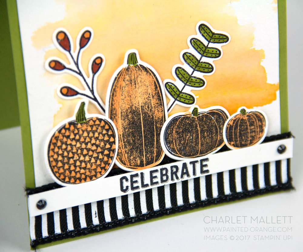 Pick A Pumpkin Celebrate card - Charlet Mallett, Stampin' Up!