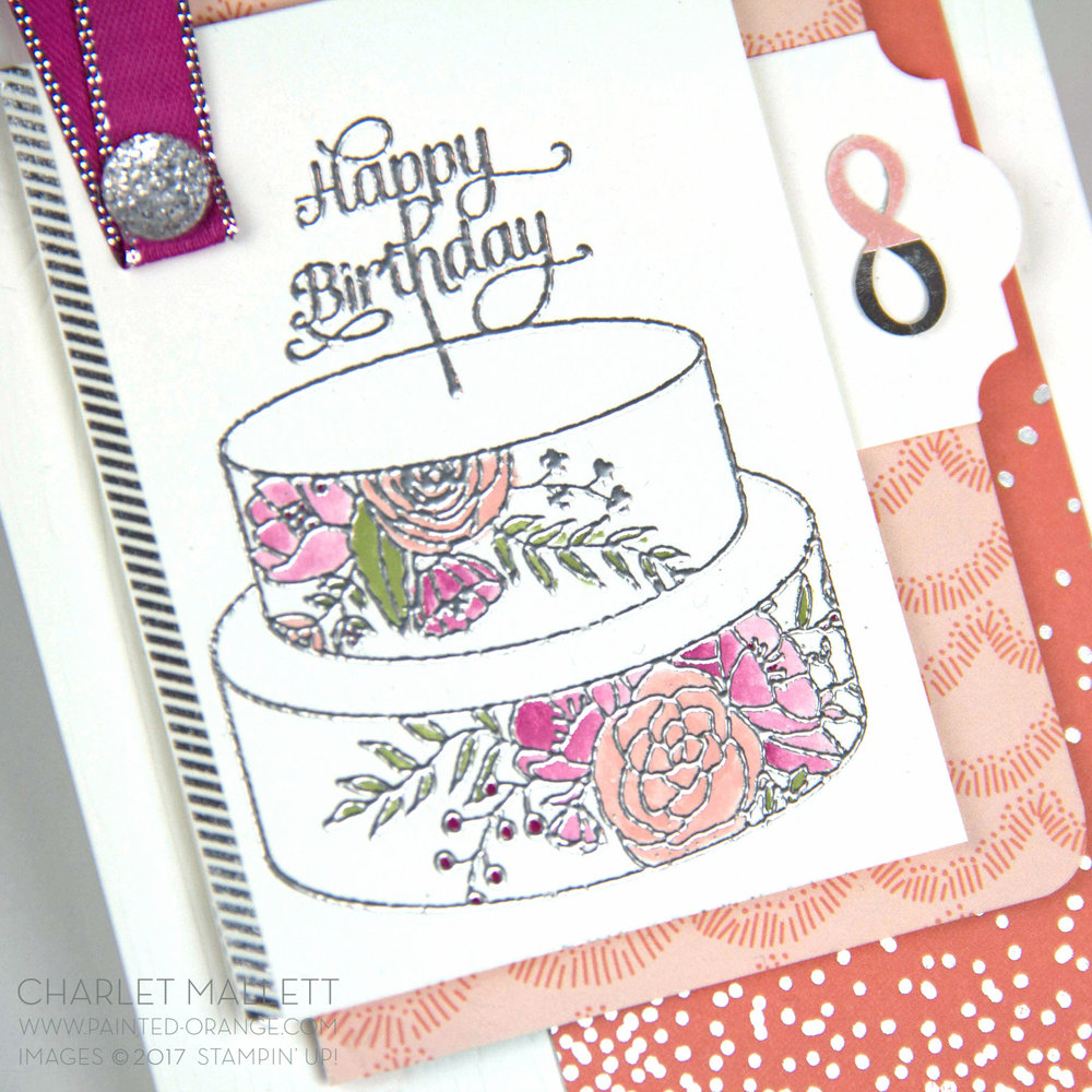 8th Birthday card - Cake Soiree stamp set & embellishments - Charlet Mallett, Stampin' Up! Occasions Catalog 2018