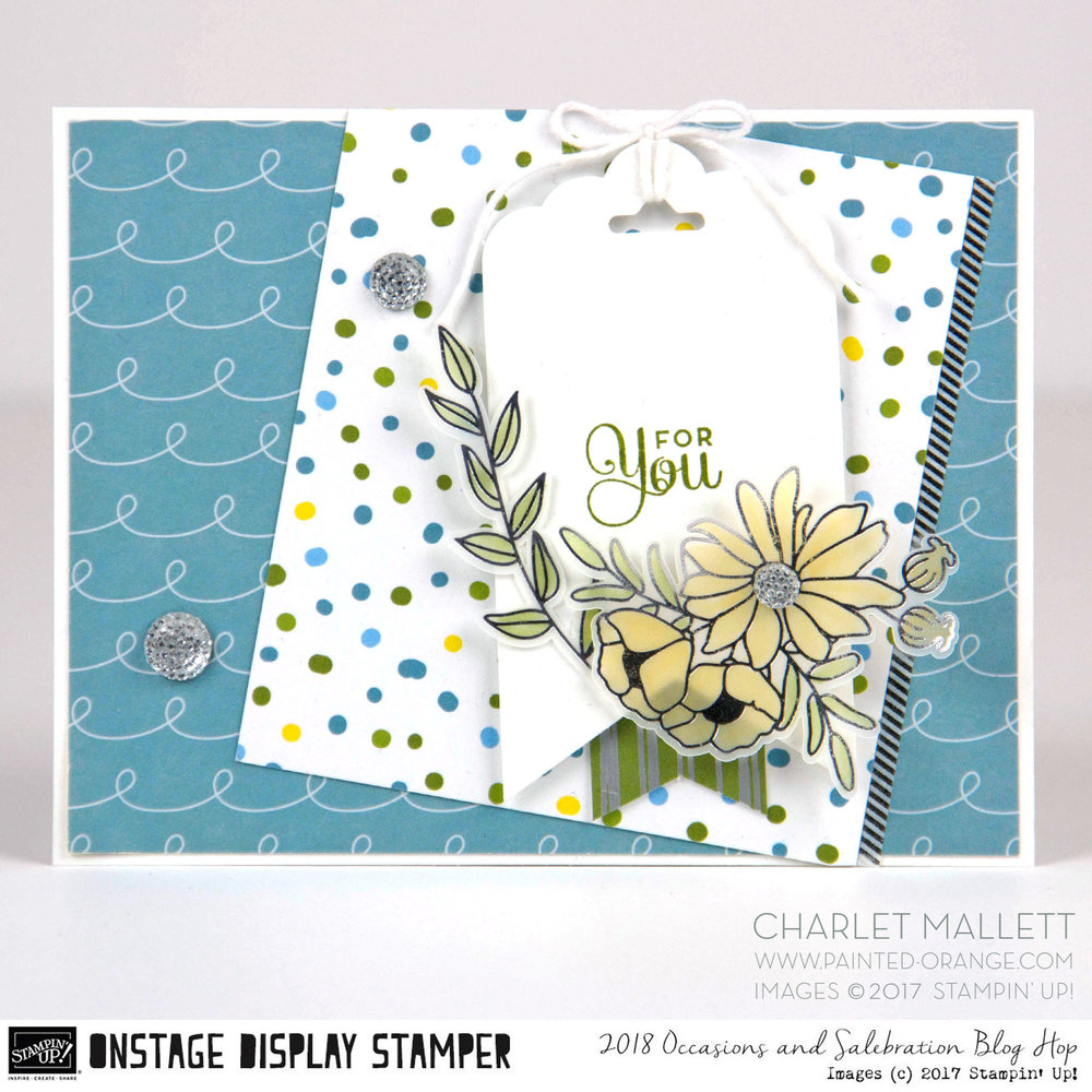 For You card - Cake Soiree stamp set & embellishments - Charlet Mallett, Stampin' Up! Occasions Catalog 2018