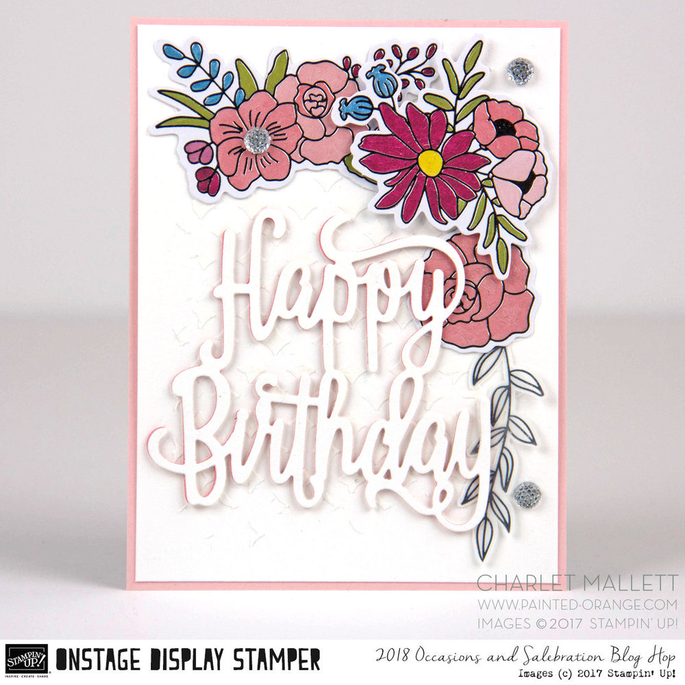 Happy Birthday card using Cake Soirée collection products - Charlet Mallett, Stampin' Up! Occasions 2018
