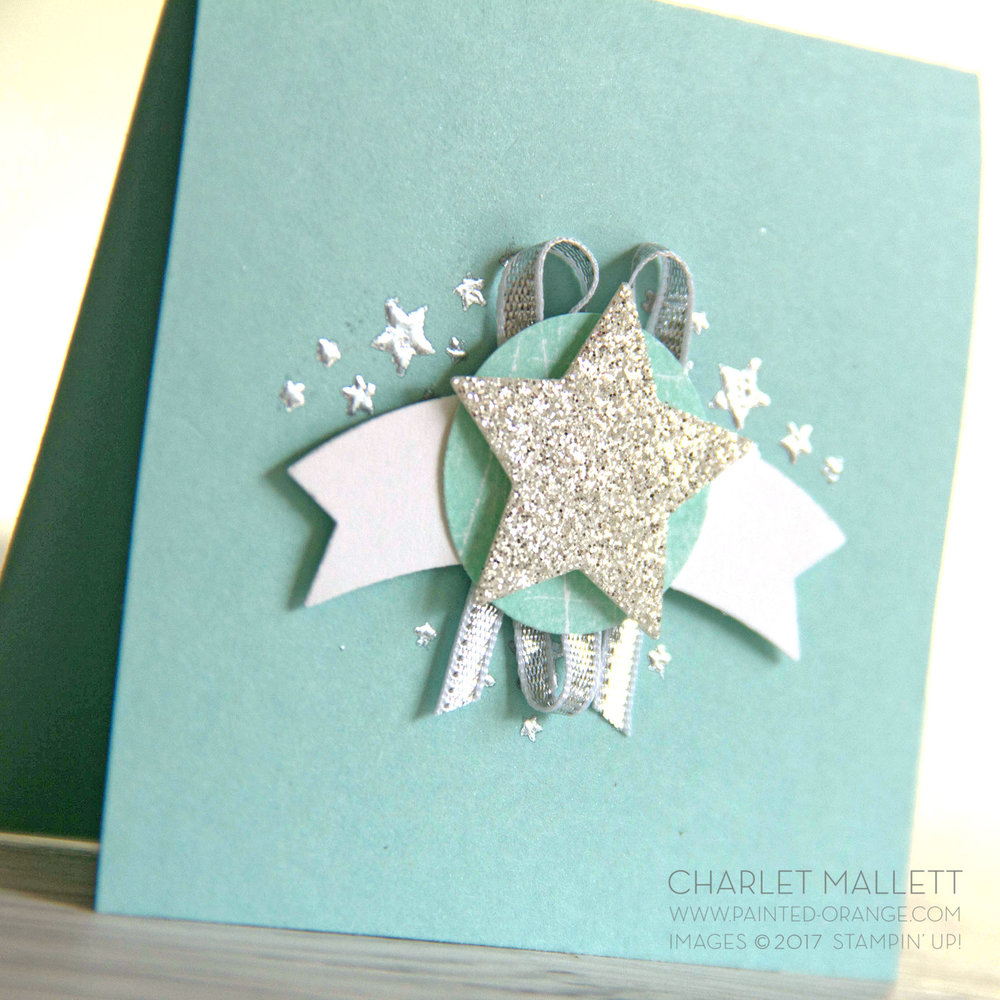 Silver sparkles - 3x3 Love notes using the Wood Words stamp set. Charlet Mallett - Stampin' Up!