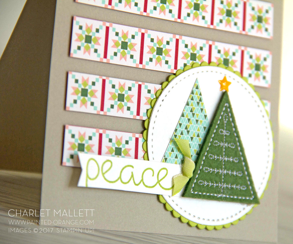 Christmas Quilt peace card - Charlet Mallett, Stampin' Up!