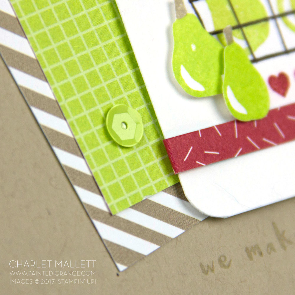 Self Adhesive sequins! Fruit Basket card - Charlet Mallett - Stampin' Up!