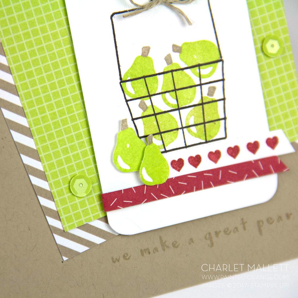 Self Adhesive sequins! Fruit Basket card - Charlet Mallett - Stampin' Up!Fruit Basket card - Charlet Mallett - Stampin' Up!