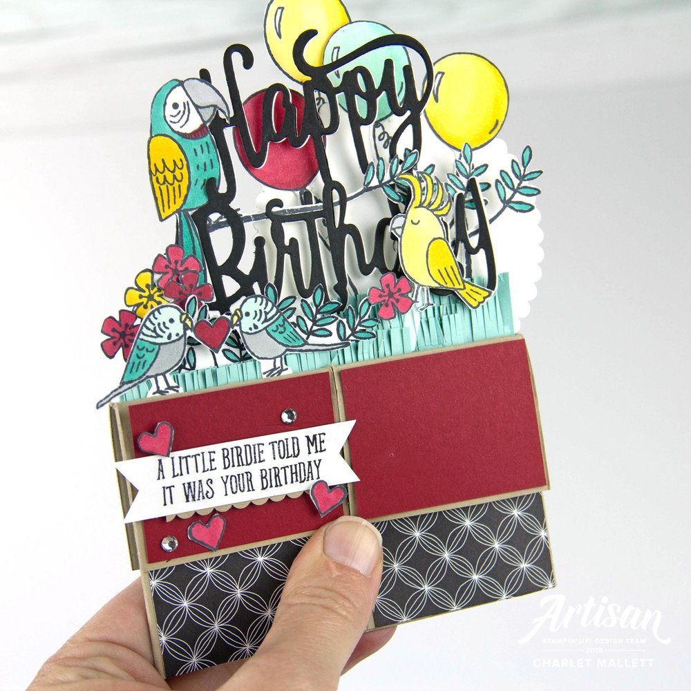 Bird Banter Card in a Box - Charlet Mallett, Stampin' Up! (folded flat)