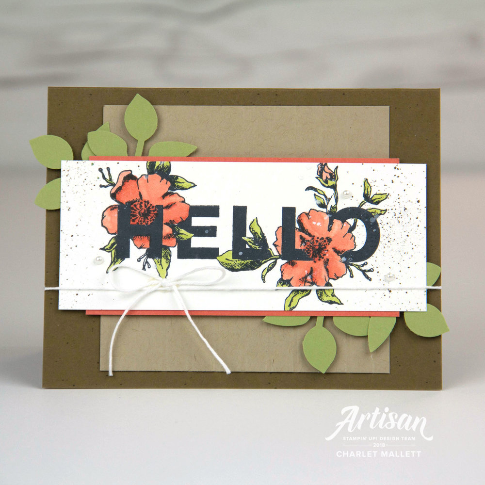 Floral Statements Hello Card - Charlet Mallett, Stampin' Up!