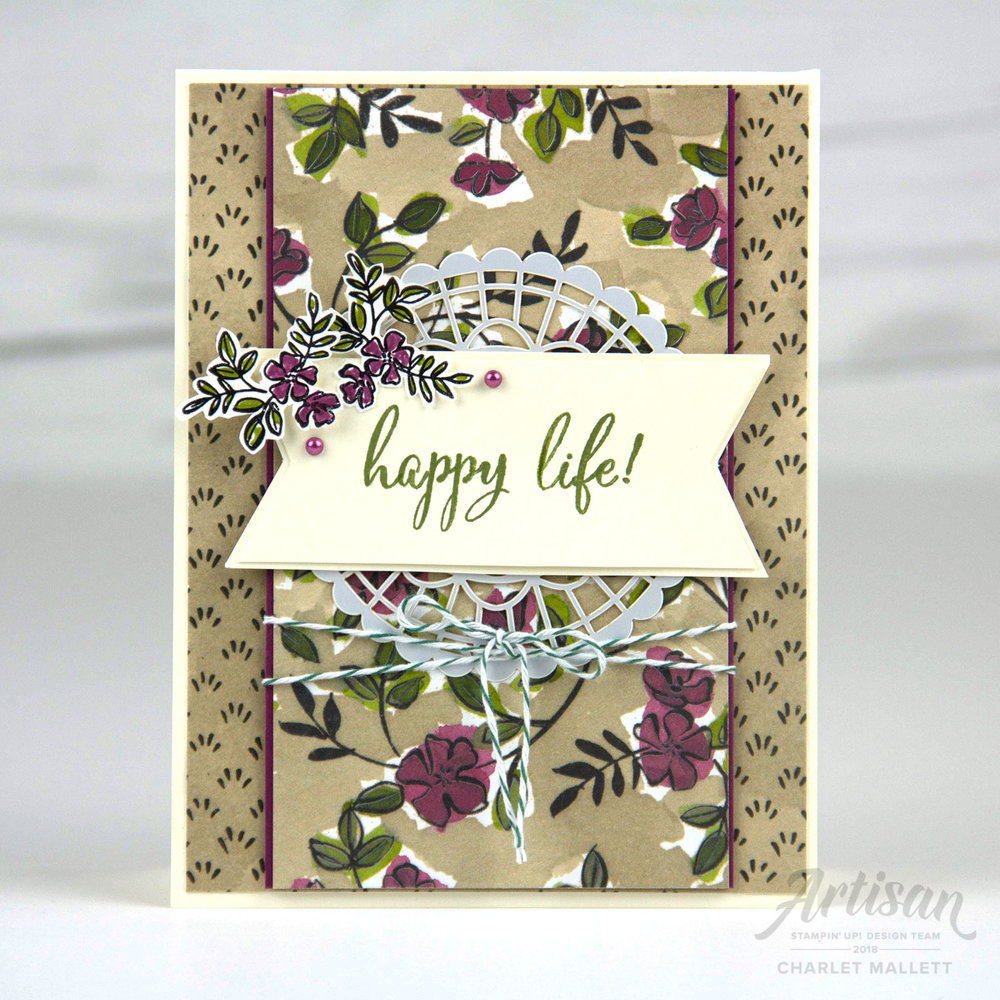 Happy Life card using the Make a Difference stamp set and Share What You Love promotion - Charlet Mallett, Stampin' Up! Artisan Design Team 2018
