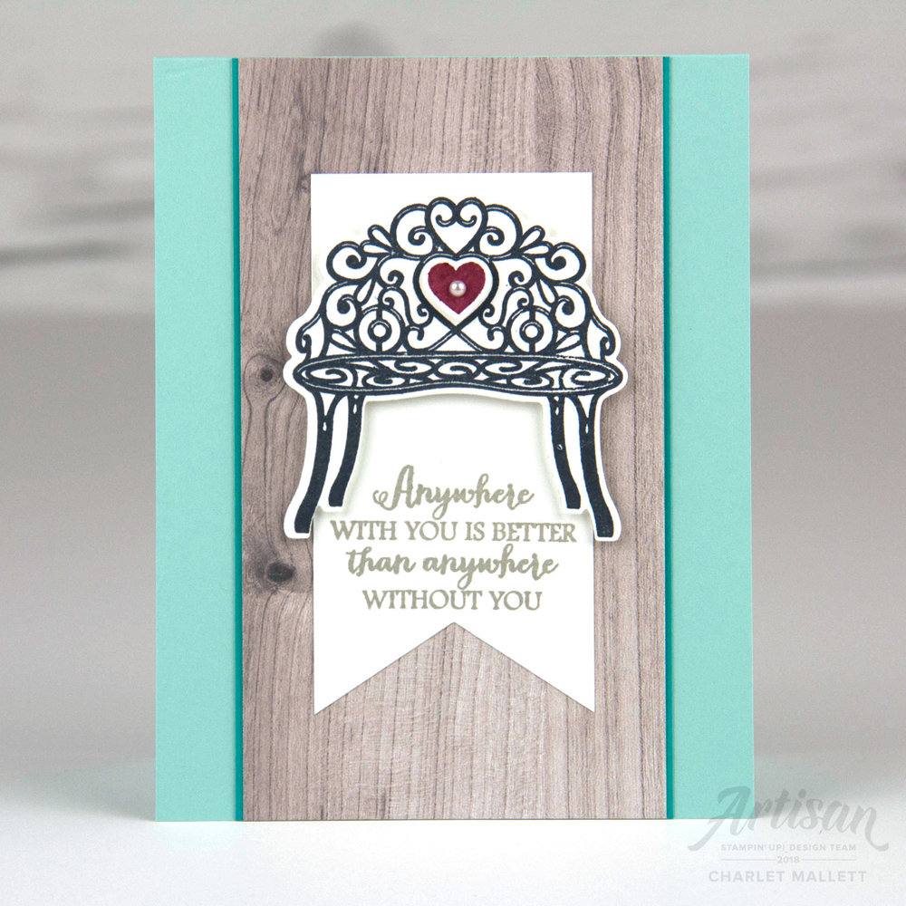 Bench card featuring Sitting Pretty Stamp set and Pretty Park Framlits - Stampin' Up!