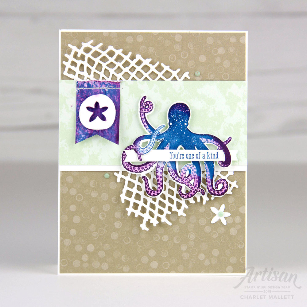 Sea of Textures & Under the Sea Octopus card - Charlet Mallett, Stampin' Up!