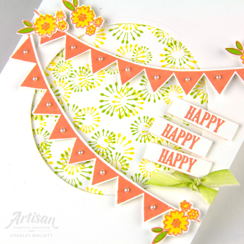 Happy, Happy, Happy Card features the Birthday Backgrounds & Pick A Pennant stamp sets. Charlet Mallett - Stampin' Up!